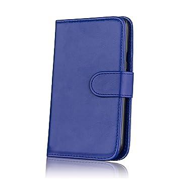 32nd® Funda Flip Carcasa de Piel Tipo Billetera para Motorola Moto G 3 (3. Generacion, 2015) con Tapa y Cierre Magnético y Tarjetero - Azul