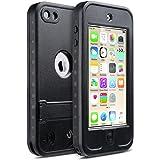 iPod Touch 5 6 Coque Imperméable, ULAK iPod Touch 5/6 Boîtier étanche Anti Dust, Anti-snow avec Construit à ans le Support pour Apple iPod Touch 5e/6e Génération (Noir)