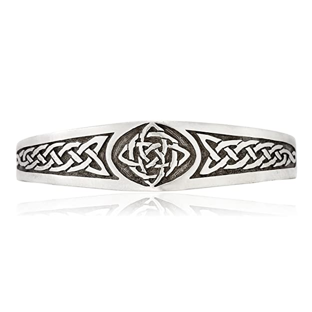 Llords Jewellery Classic Celtic Knot Bracelet Cuff with Irish Pattern, Fine Pewter Jewelry