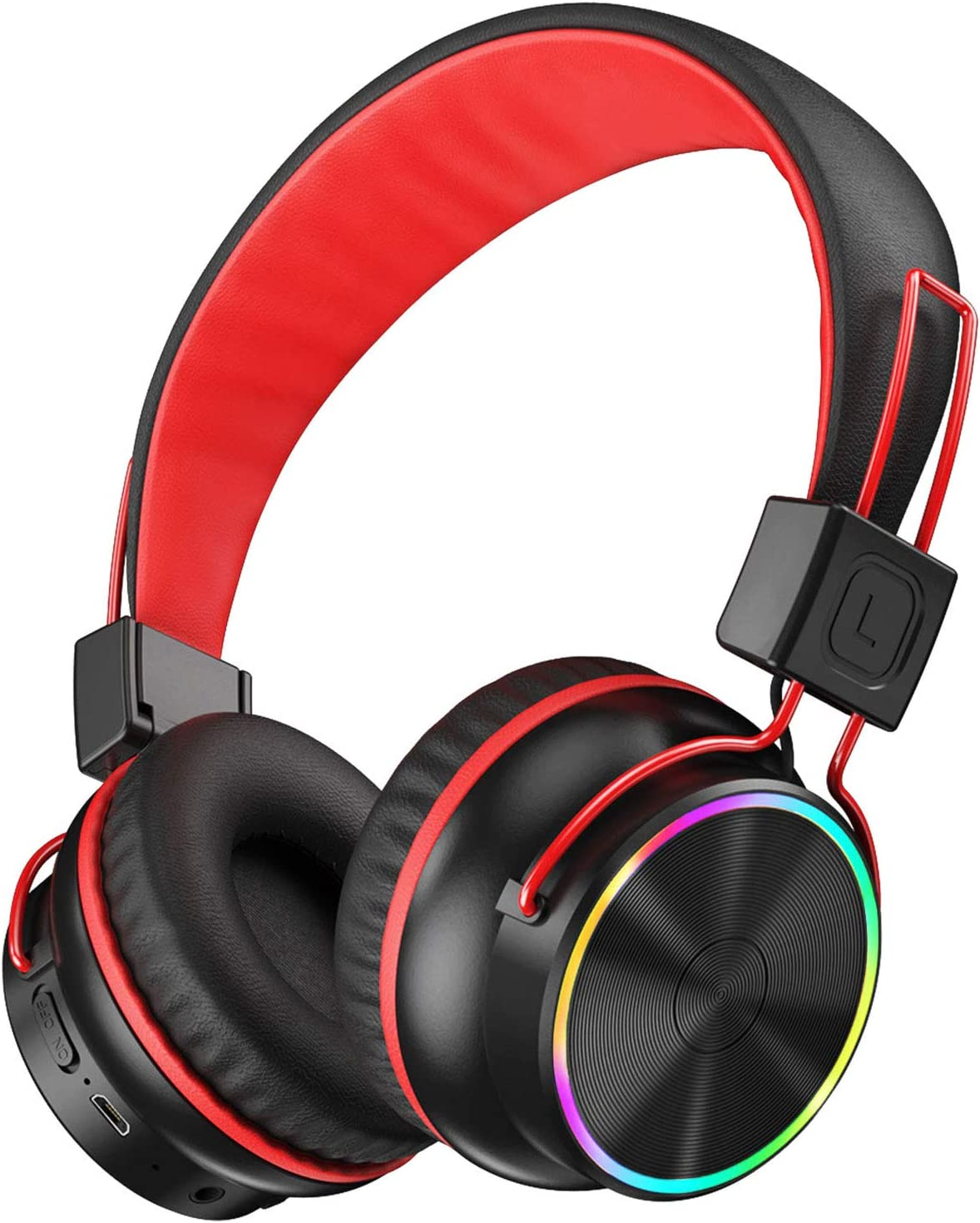 PeohZarr Kids Wireless Headphones with Microphone Foldable Stereo Sound Headphones for School Home Travel LED Light Up 94dB Kids Bluetooth On-Ear Headphones for Boys Girls Children 25 hrs Playtime