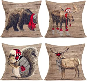 """Fukeen Set of 4 Christmas Red Farmhouse Animals Pillow Covers Vintage Wood Background with Bear Elk Deer Moose Squirrel Decorative Throw Pillow Cases Cushion Cover 18""""x18"""" Xmas Gift, Red Black Buffalo"""