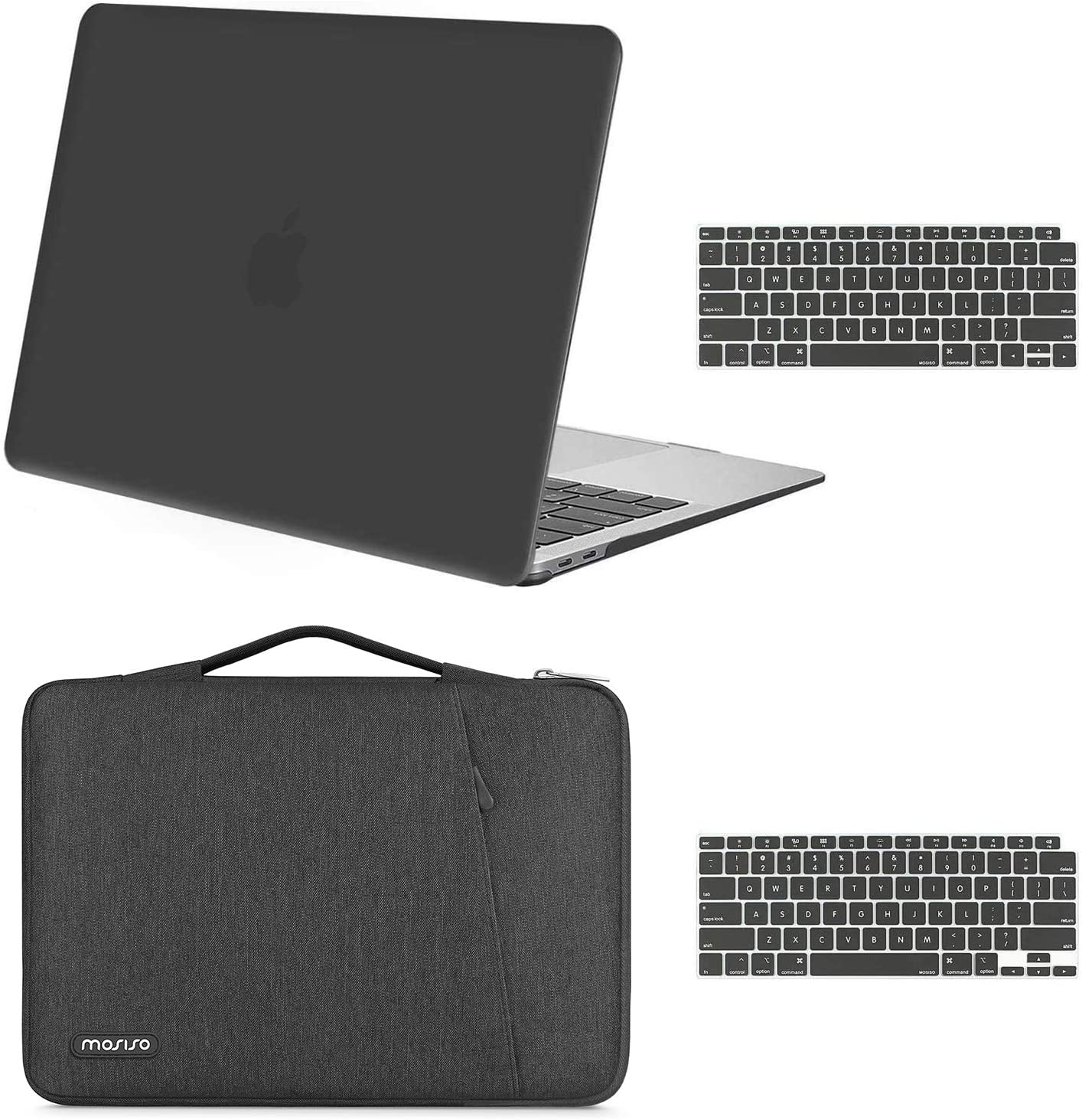 MOSISO MacBook Air 13 inch Case 2020 2019 2018 Release A2179 A1932, Plastic Hard Shell Case & 360 Protective Carrying Sleeve Bag & Keyboard Cover Compatible with MacBook Air 13 inch Retina, Space Gray