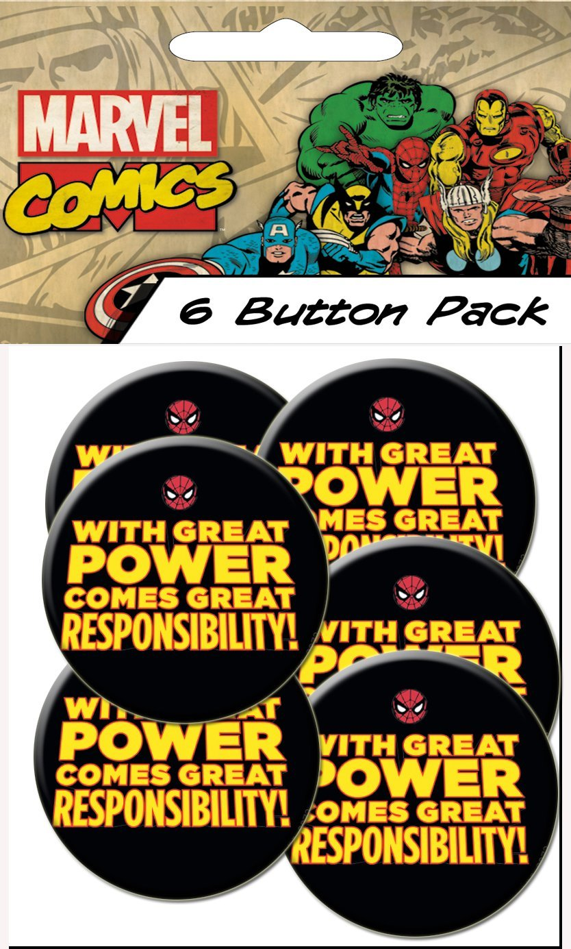C/&D Visionary Spiderman Classic Responsibility Prepack Buttons B-MVL-0072-PP 1.25 1.25 C/&D Visionary Inc 6 Piece
