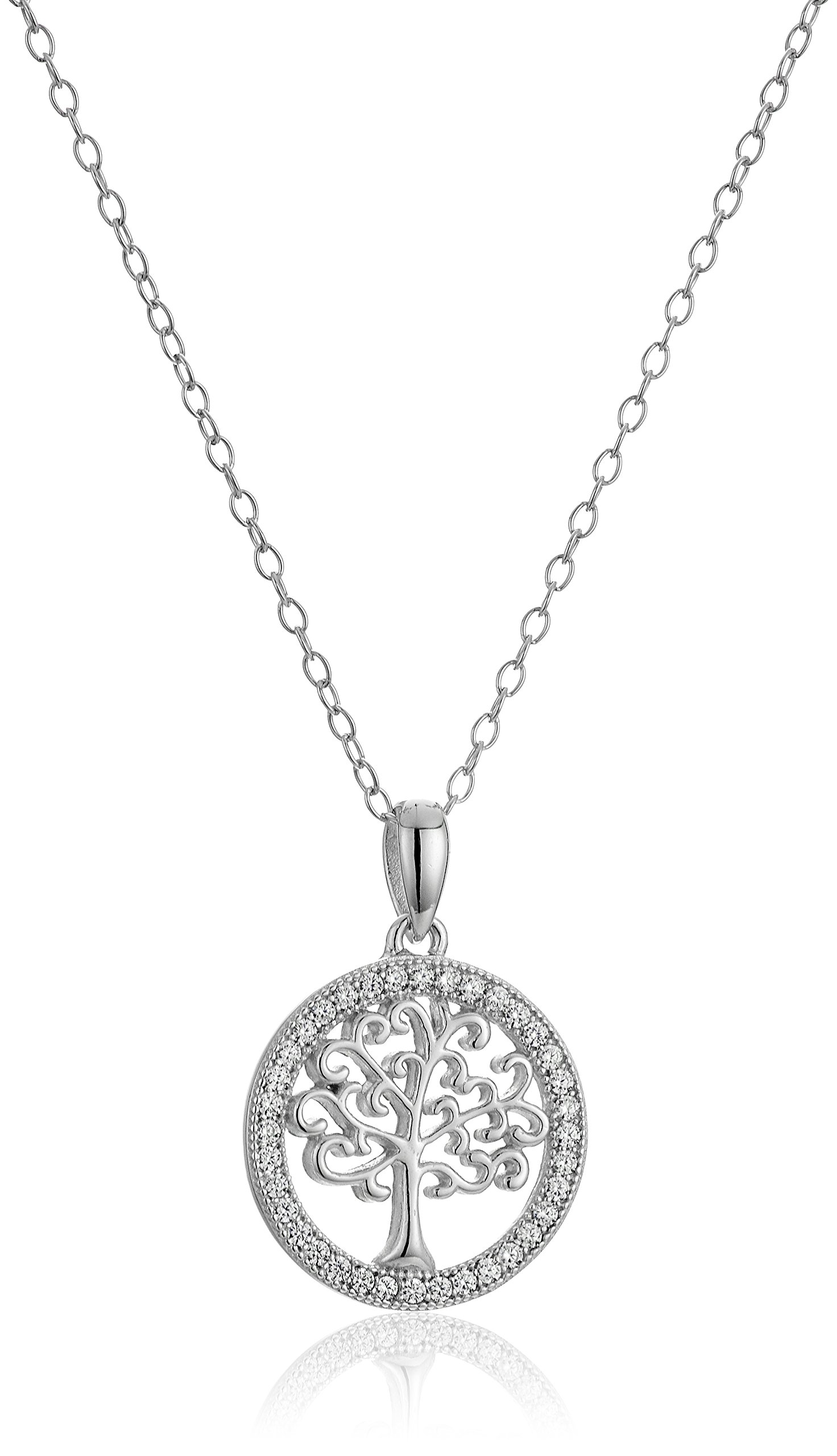 Sterling Silver Polished Family Tree of Life Pendant Enhancer, 18''