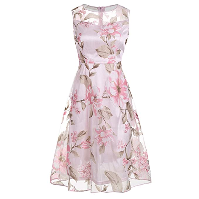 Penin Vintage Pink Floral Print Dress Women Retro Sleeveless A Line Midi Organza Dress New Sheer