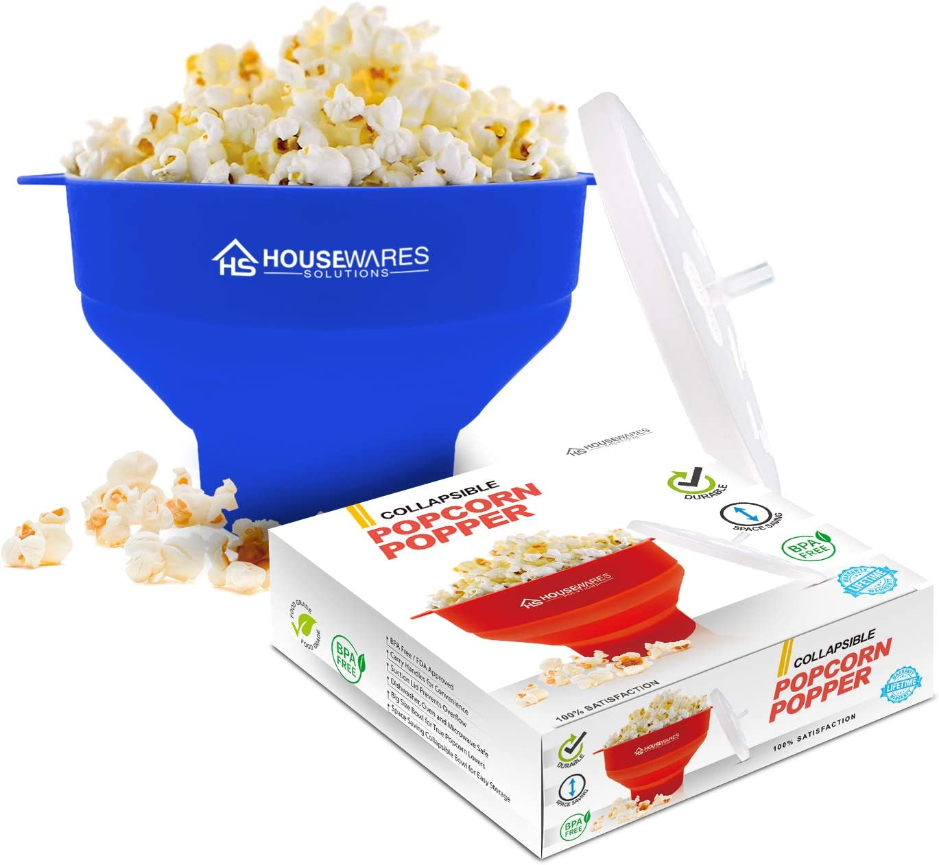 Collapsible Silicone Microwave Hot Air Popcorn Popper Bowl With Lid and Handles - Blue