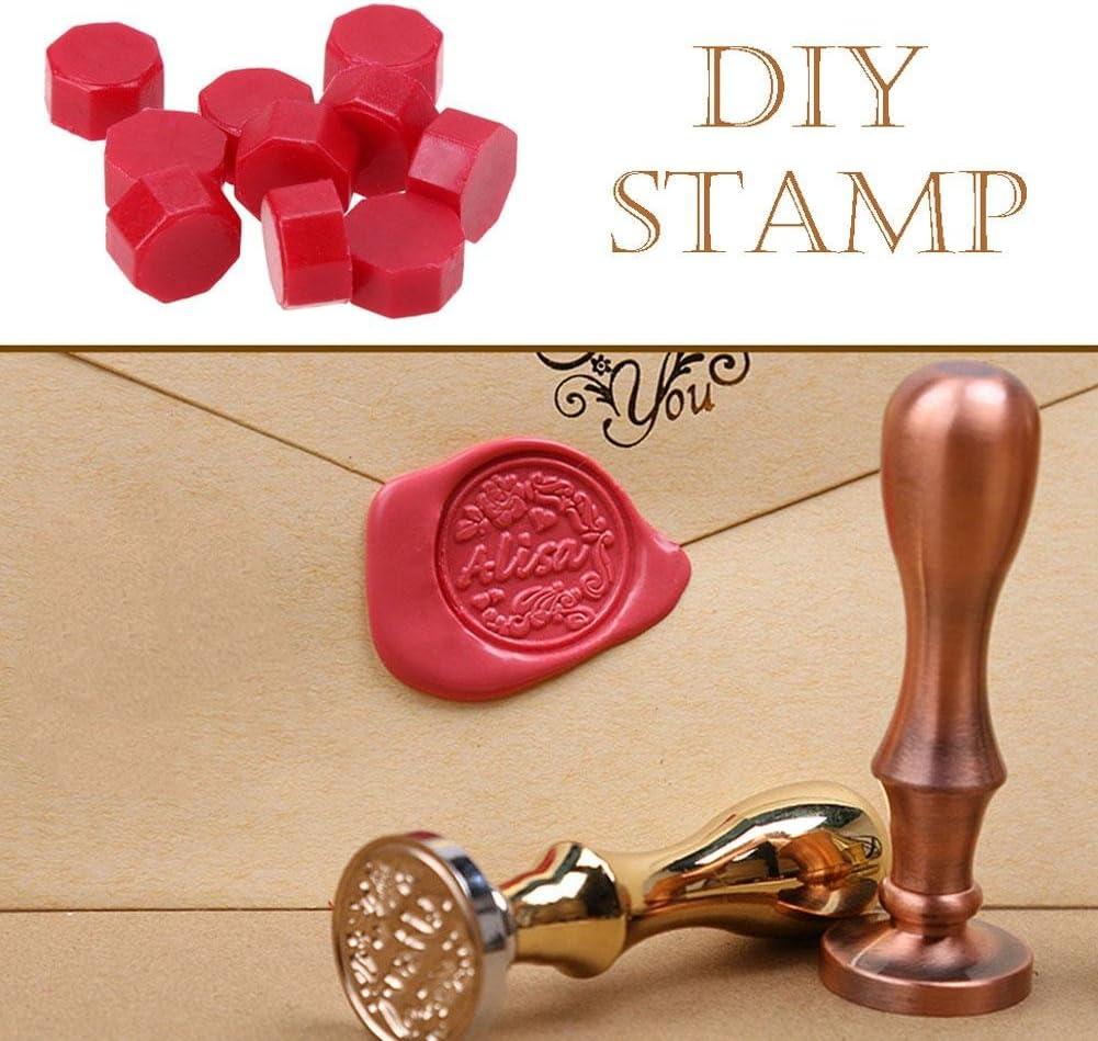 rosso 100 pz//lotto retr/ò ottagono ceralacca perline stamping busta decor