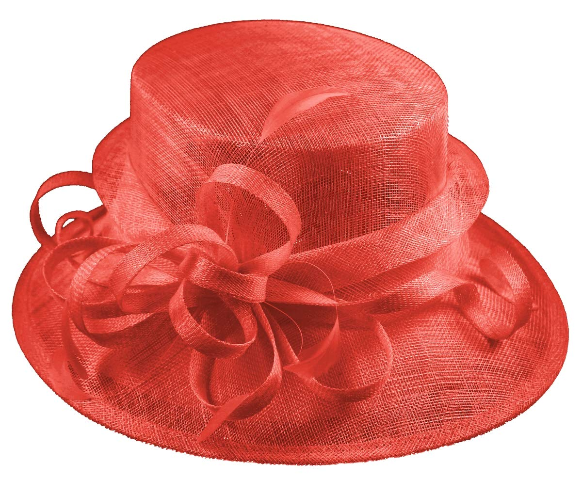 Elegance Collection Sinamay Loops Wedding Hat in Coral, Size: Medium by Elegance Collection