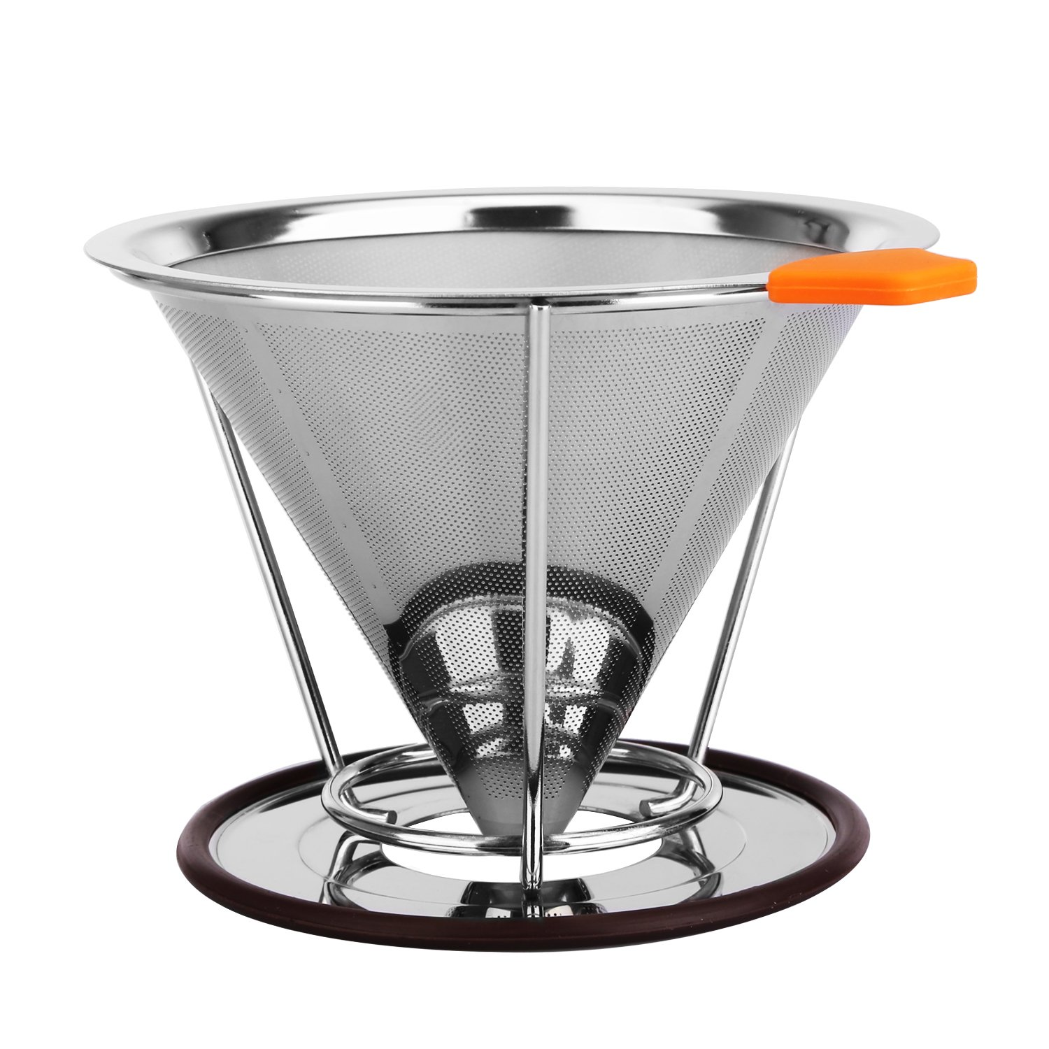 Kumeida Pour Over Coffee Maker, Reusable Stainless Steel Coffee Filter, Coffee Dripper Paperless, Coffee Brewer with Stand for 4 Cups