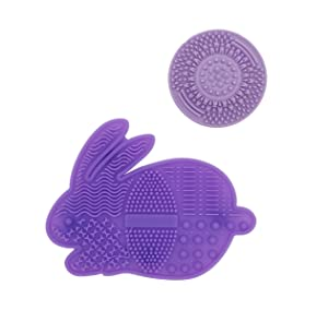 WAVALP Makeup Brush Cleaner Mat, Makeup Brush Cleaning Pad, Cosmetics Brush Cleaner, Portable Silicone Beauty Blender Washing Tool Scrubber Suction Cup (Purple 2 pieces)