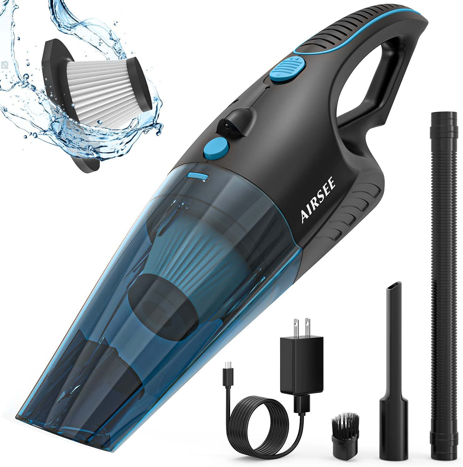 AIRSEE Vacuum Cleaner 2-Speed Cordless Vacuum Cleaner with High Power 14000 PA Suction Car Vacuum Suitable for Vacuum Storage Bags Portable Handheld Vacuum for Pet Hair, Home, and Car Cleaning