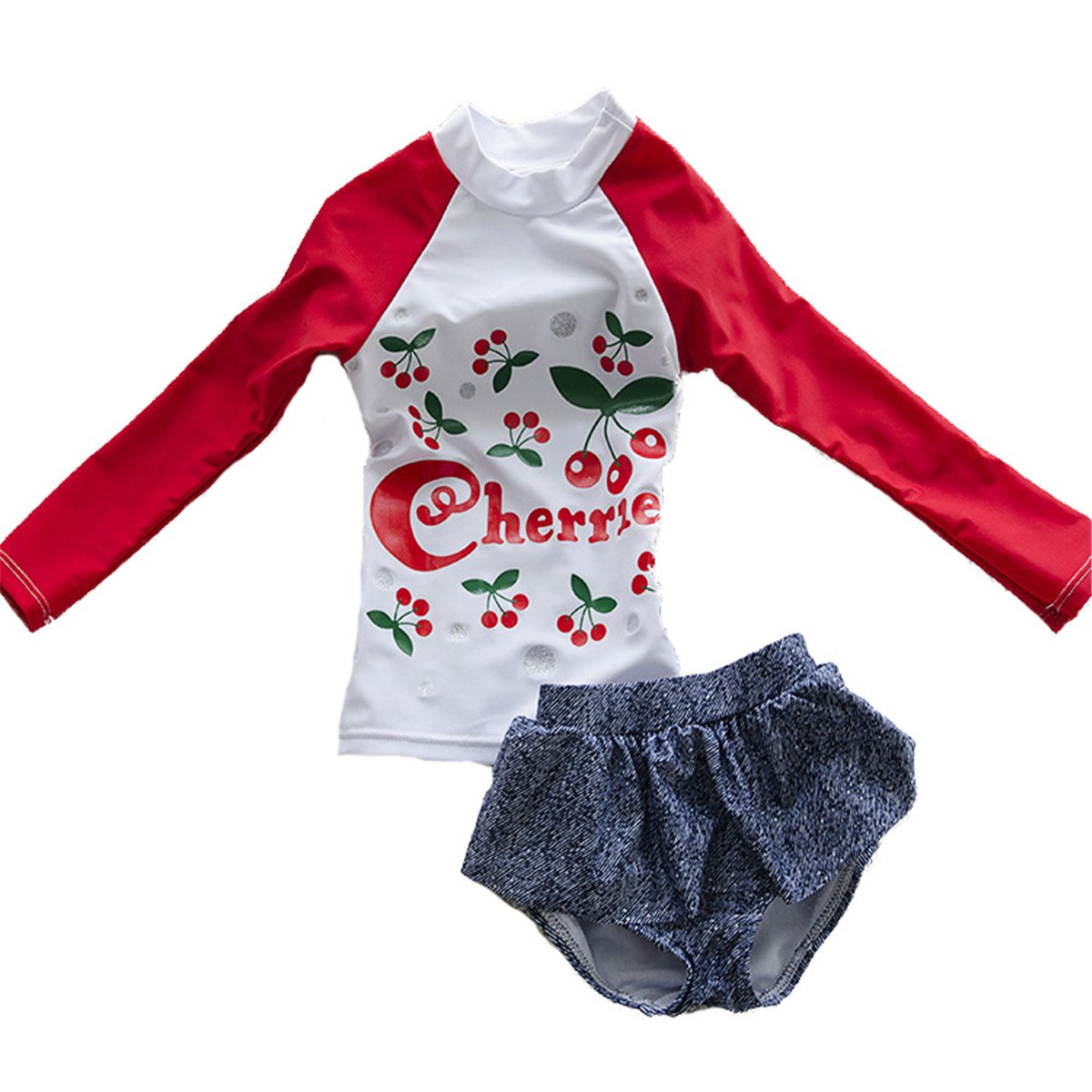 Baby Girls Kids Toddler Long Sleeve Cherry Print Swimsuit Rash Guard UPF 50 swimboygi033
