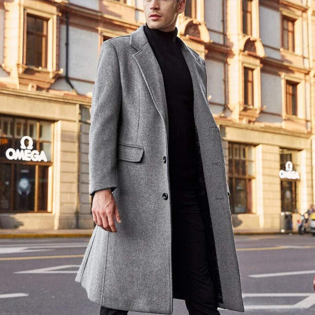 Youmymine Mens Woolen Overcoat British Style Button Solid Color Long Coat Fashionable Warm Jackets