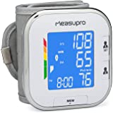MeasuPro Wrist Digital Blood Pressure Monitor with Heart Rate Detection, Hypertension Color Alert Display, Two User Modes, IHB Indicator and Memory Recall