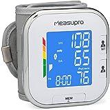 MeasuPro BPM-50W Misuratore di pressione sanguigna digitale da polso con sensore del battito cardiaco, ipertensione colore del display allarme, schermo con codifica a colori, due modalità utente, indicatore di battito cardiaco irregolare e funzione memoria