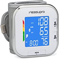 MeasuPro Tragbares Handgelenk-Blutdruckmessgerät mit Herzfrequenzmesser, Hochdruckalarm-Farbdisplay, zwei Benutzermodi, IHB-Indikator und Speicherabruf