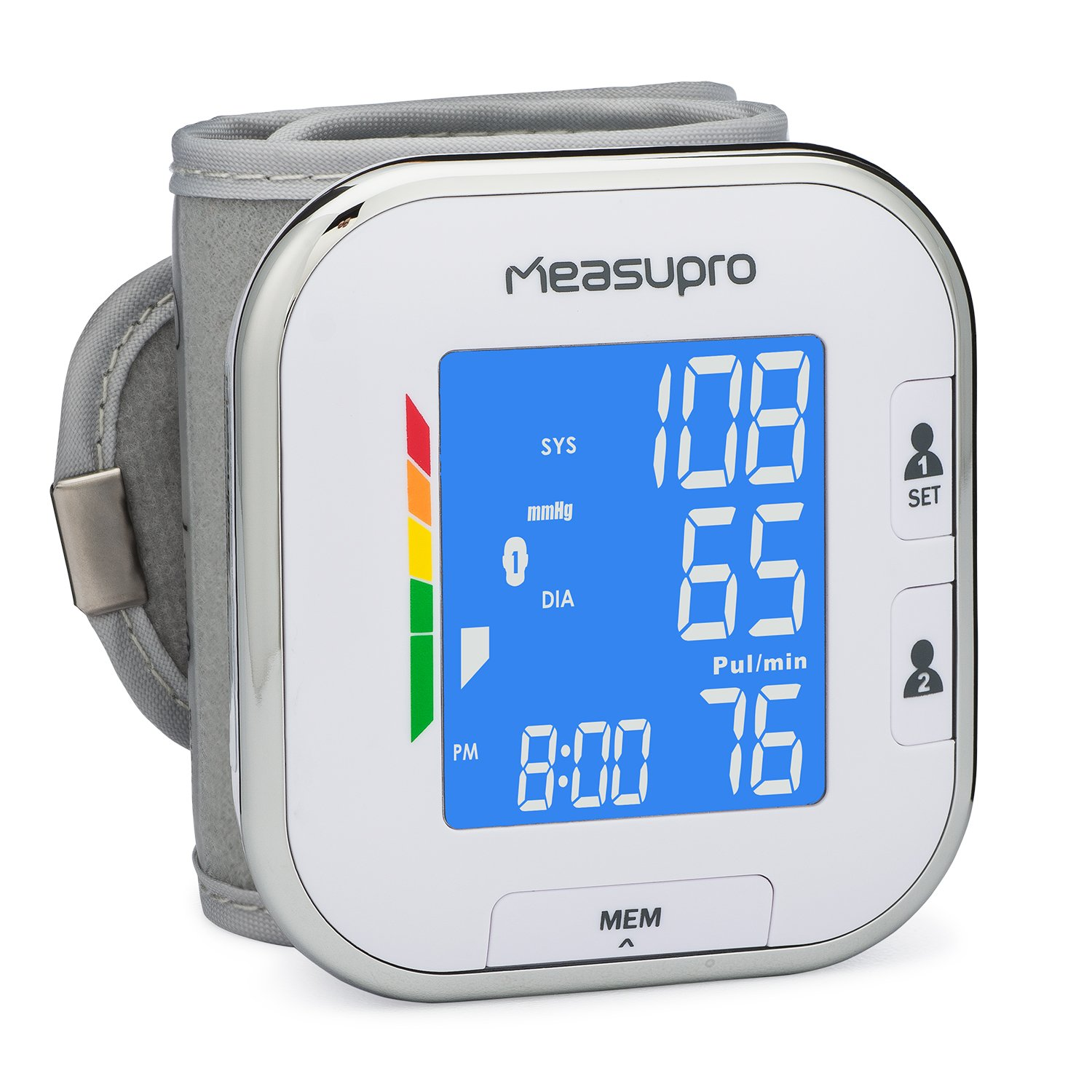 MeasuPro Portable Automatic Wrist Blood Pressure Monitor with Heart Rate Meter, Hypertension Color Alert Display, Two User Modes, IHB Indicator and Memory Recall