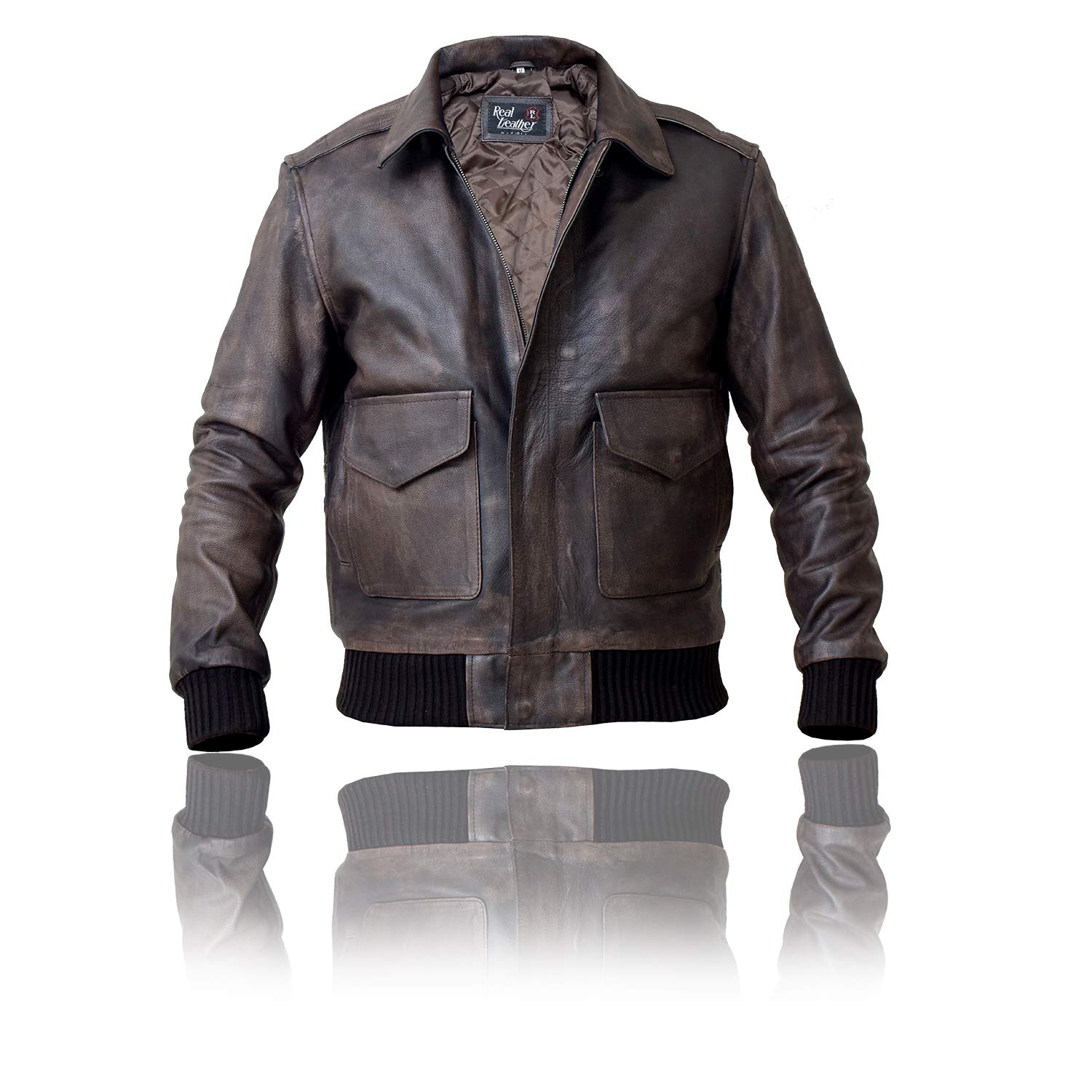 Mens Leather Leather Leather A2 Pilot Aviator Bomber Jacket