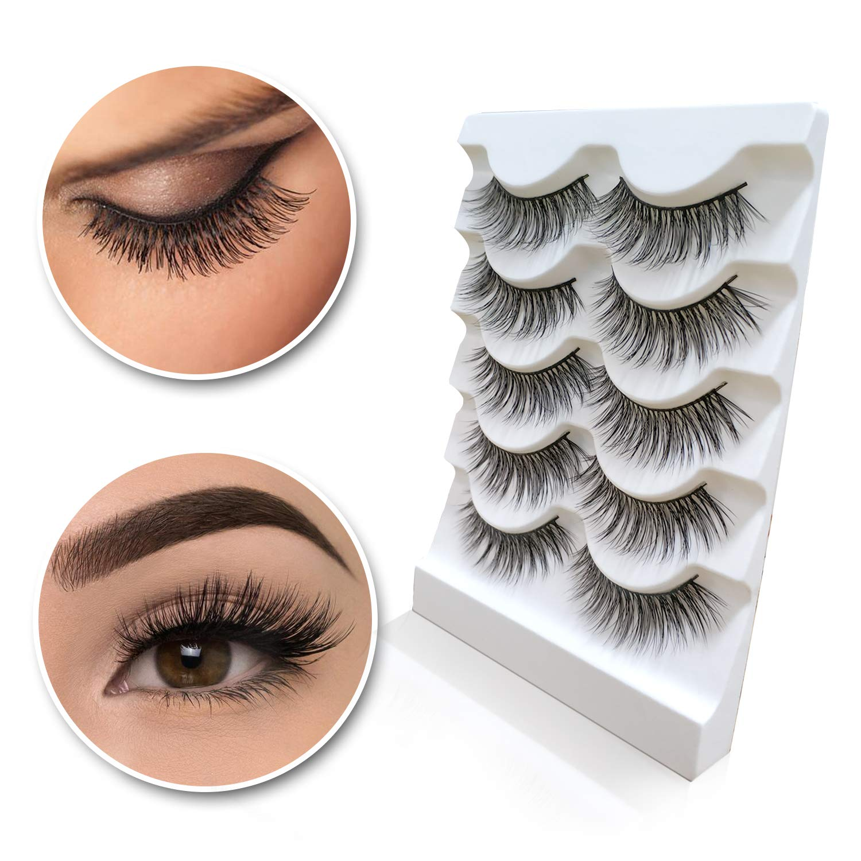 6df69d6996f Amazon.com : 3D Mink Eyelashes Natural Long Make up Messy Flirty Fake Lashes  Curly Lightweight Black False Eyelashes for Women 5 Pairs/Box Non-magnetic  : ...