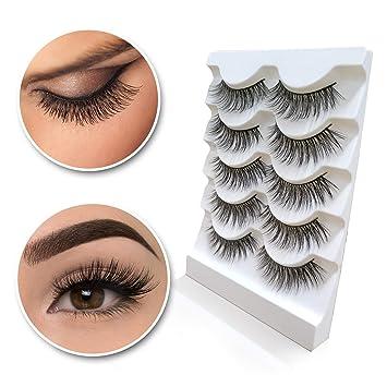 c25faf05b32 Amazon.com : 3D Mink Eyelashes Natural Long Make up Messy Flirty Fake  Lashes Curly Lightweight Black False Eyelashes for Women 5 Pairs/Box  Non-magnetic : ...