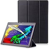 """Lenovo Tab 2 A10 / Tab3 10 Plus / Tab3 10 Business Cover - Custodia con Funzione Auto Sveglia / Sonno per Lenovo Tab 2 A10-30 / A10-70 / Tab3 10 Plus / Tab3 10 Business 10.1"""" Tablet, Nero"""