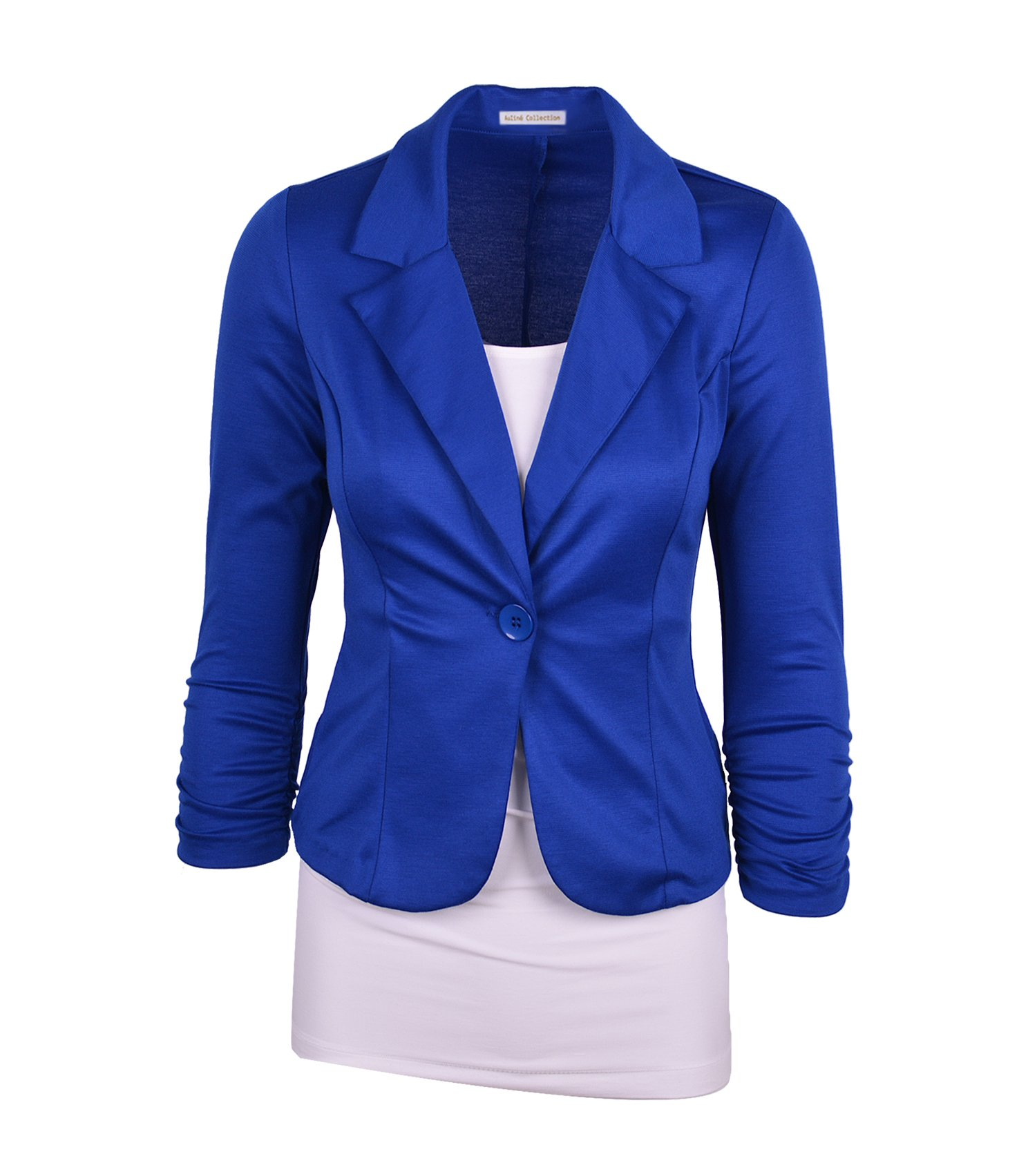 Auliné Collection Women's Casual Work Solid Color Knit Blazer Royal Blue 3X