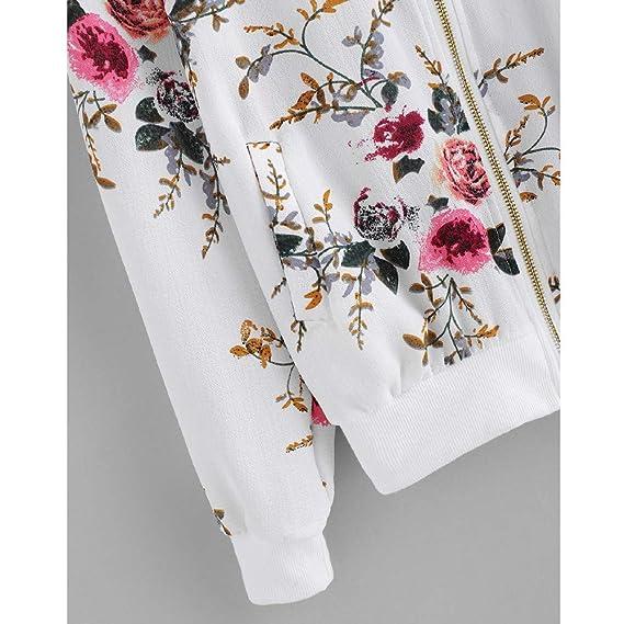 Overdose SeñOras De Las Mujeres Retro Floral O-Cuello Zipper Up Bomber Mejor Venden Chaqueta Casual Outwear: Amazon.es: Ropa y accesorios
