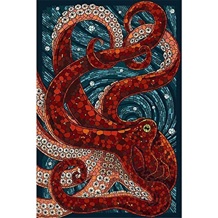 5e5c162e DIY Oil Painting Paint by Number Kit for Adult Kids - Red Octopus Sea  Monster,16X20 Inch