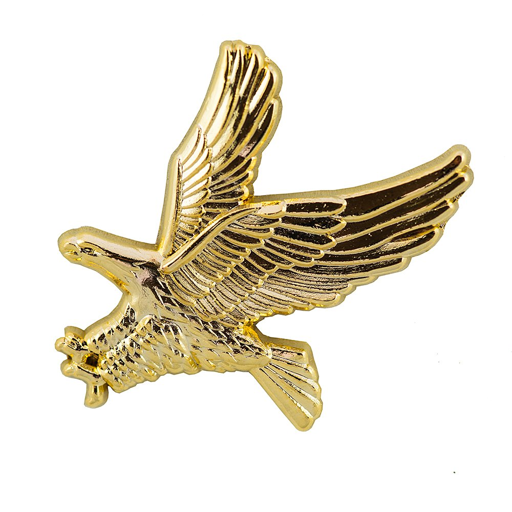 Goldfarbener Adler Greifvogel Seeadler 3D Metall Button Badge Pin Anstecker 0476