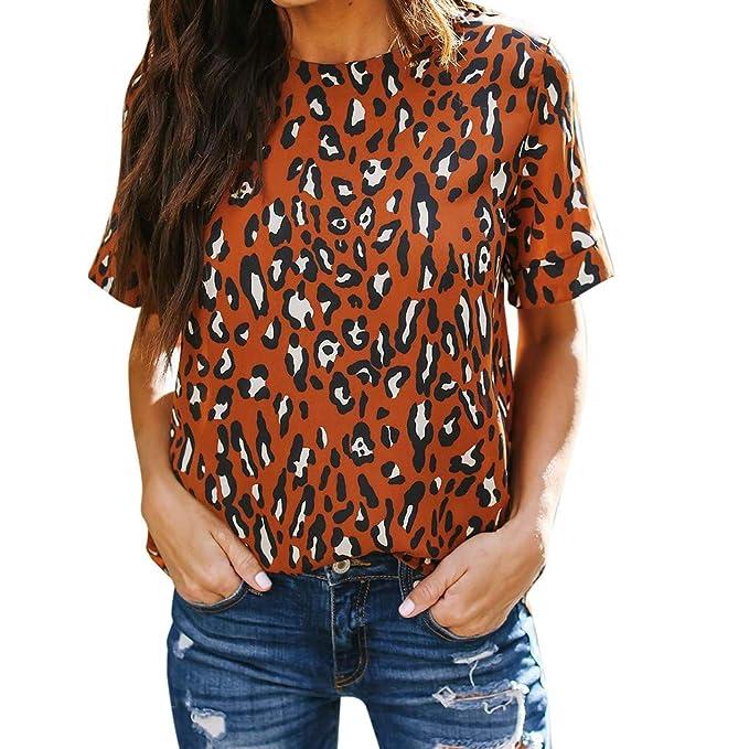 36fef3b8ffd3 Women Tops T Shirt - Limsea 2019 Leopard Print Casual O-Neck Short Sleeve:  Amazon.ca: Clothing & Accessories