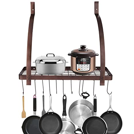 Amazon Com Kitchen Wall Pot Rack With Hooks Wall Mounted Pot And
