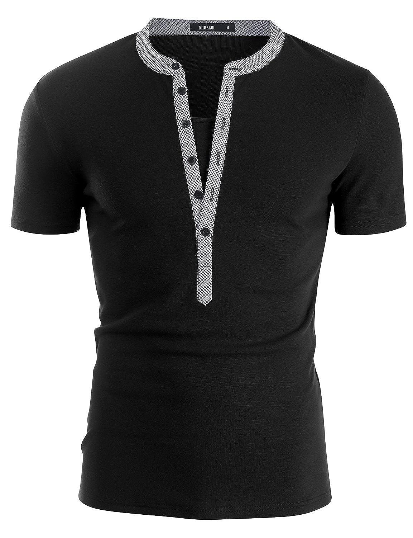 Doublju Mens Henley T-shirts with Short Sleeve Mens Henley T-Shirt D15S 1