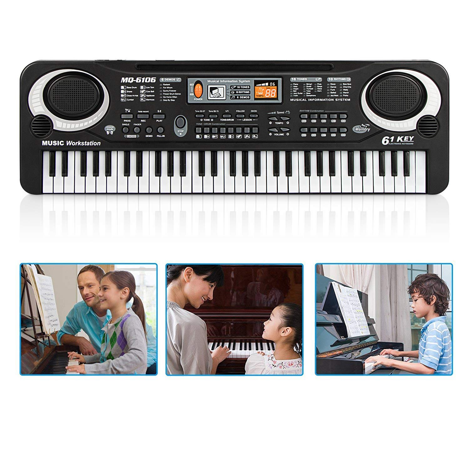 Electronic Piano, 61-Key Electric Digital Keyboard Piano Portable Musical Instruments Toy with Microphone by lyrlody (Image #5)