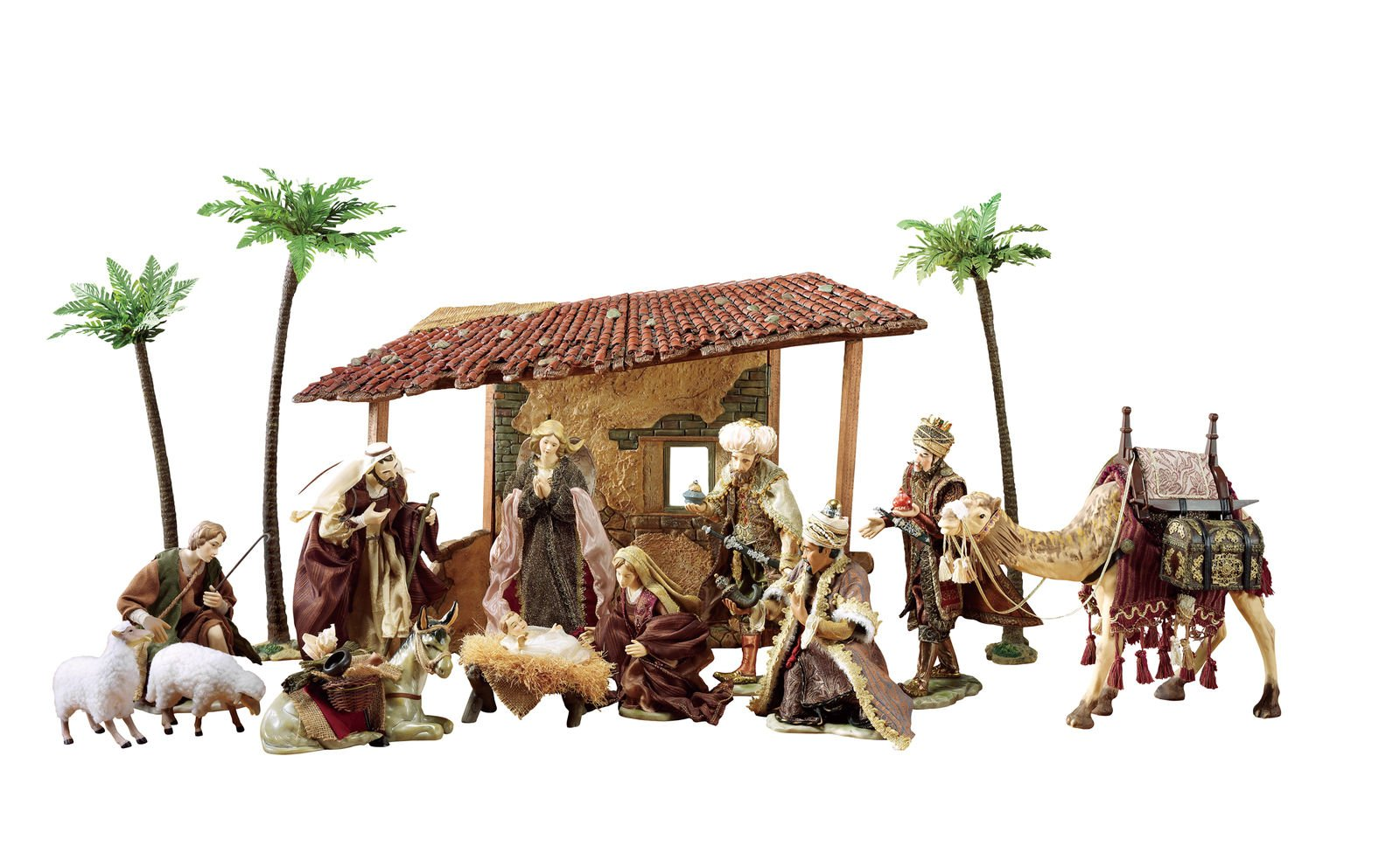 16 piece Deluxe Exquisitely Hand-Crafted and Painted Fine Porcelain Nativity Set