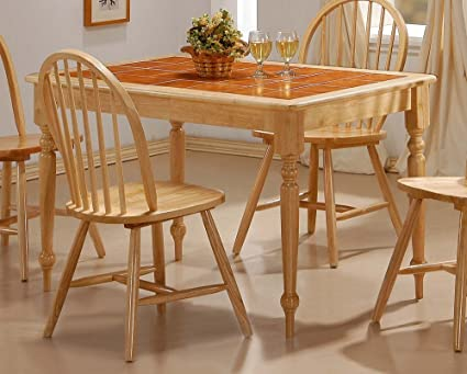 Exceptional Dining Table With Terracotta Tile Top Natural Finish