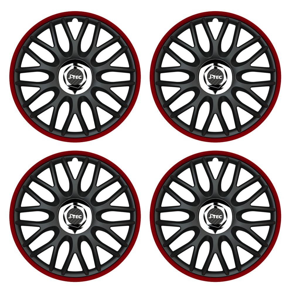 passend f/ür fast alle Fahrzeugtypen Rand Rot 16 Zoll Radkappen ORDEN Schwarz//Rot Universal