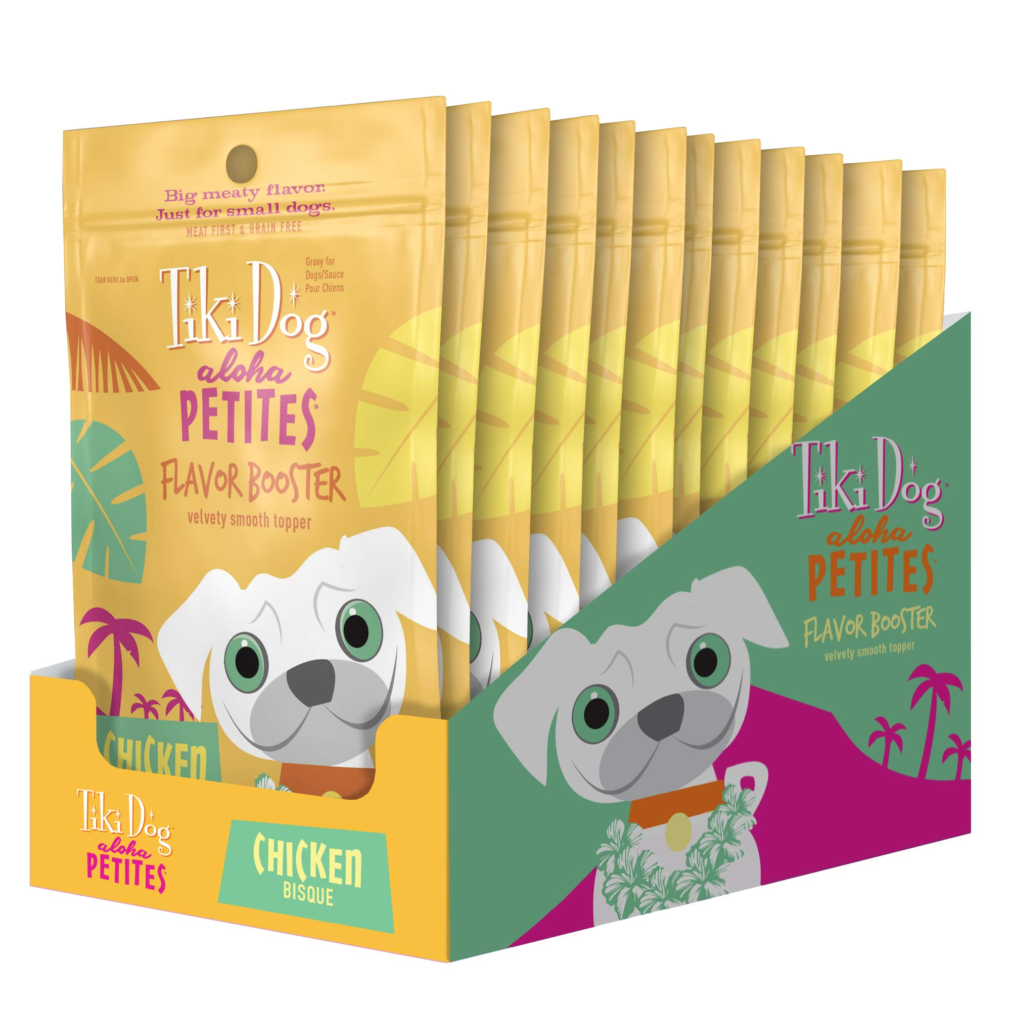 Tiki Dog Aloha Petites Chicken Flavor Booster Bisque Pouches - Grain Free Dog Food Flavor Booster - 1.5 oz (12 Pack) by Tiki Pets