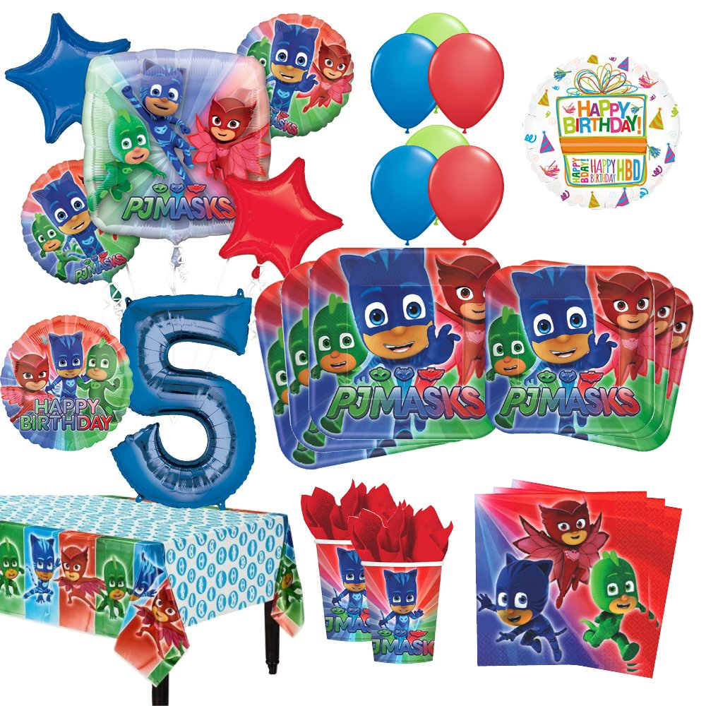 Mayflower Products PJ Masks 5th Birthday Party Supplies 16 Guest Kit and Balloon Bouquet Decorations 96pc