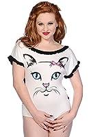 Gebannt White Cat Gesicht Bodysuit