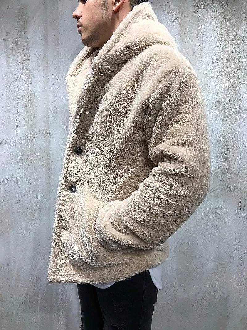 Mens Fuzzy Sherpa Jacket Hoodie Fluffy Fleece Open Front Cardigan Button Down Soft Coat Fall Outwear with Pocket