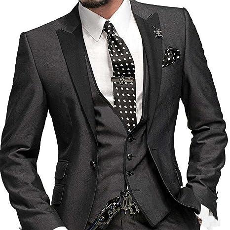 Groom Tuxedos Peak Lapel Men's Suit Navy Blue Groomsman/Best Man Wedding/Prom Suits