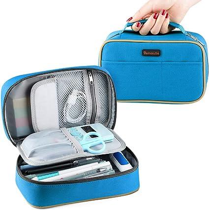 Estuche de Lápices de Gran Capacidad con Compartimentos Porta lápices Oficina Estudiantes de la escuela Papelería Bolsa de Maquillaje Estuche con Cremallera Doble 22 * 14 * 8.3CM (Azul): Amazon.es: Hogar