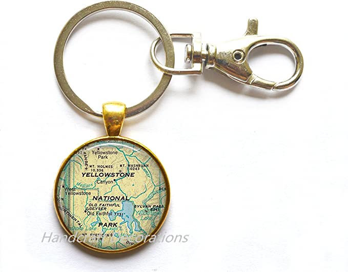 camping hiking gift key chain key ring key fob Yellowstone map pendant map jewelry gift for camper Yellowstone National Park map necklace