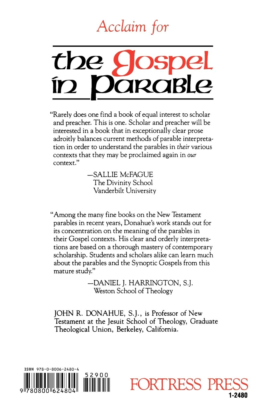 The Gospel In Parable John R Donahue 9780800624804 Amazon Books