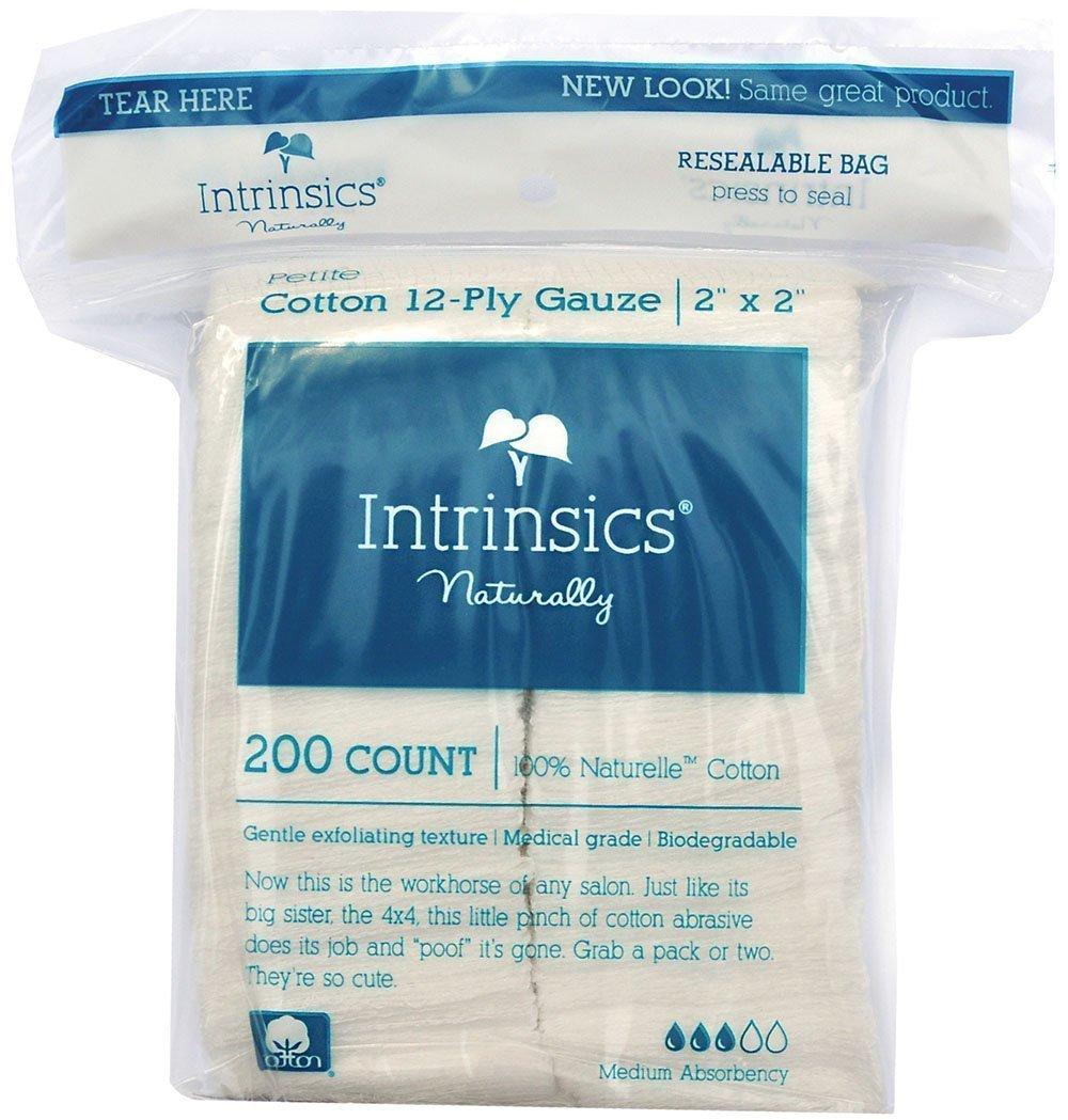 Intrinsics Med-Esthetic 100% Naturelle Cotton Petite 12-Ply Gauze 2''x 2'' - 200 Count
