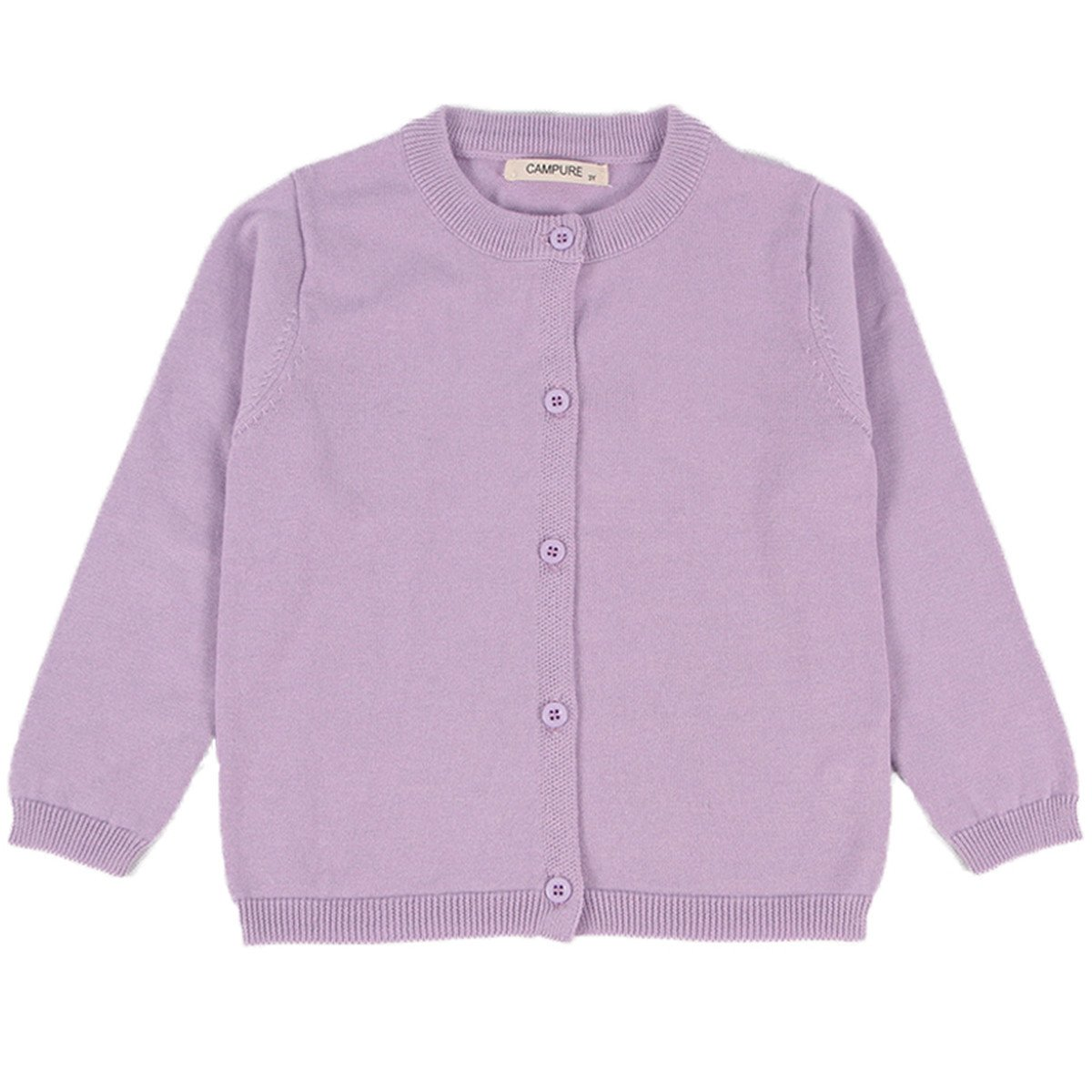 Little Girls Cute Crew Neck Button-down Solid Fine Knit Cardigan Sweaters 3-4 Years