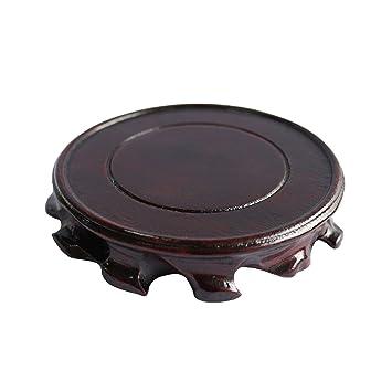 Rústico antiguo madera maciza Circular soporte de pantalla jarrón maceta base Pedestal pecera. (Dia.10): Amazon.es: Hogar