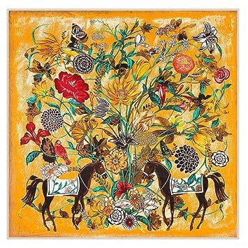 Suave Bufanda De Las Mujeres Protector Solar Cómodo Suave Impresión Toalla De Playa Amarillo Aire Acondicionado Chal Mantener Caliente (Color : Amarillo): ...