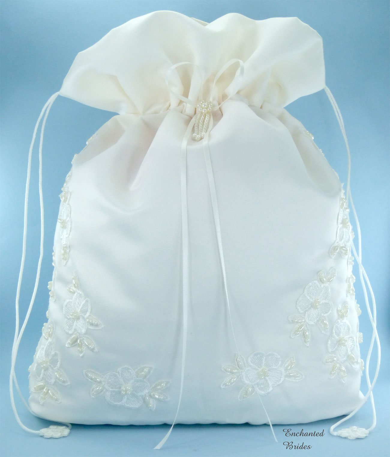 Satin Bridal Wedding Money Bag (#E1D4MBiv) in Large Size with Pearl-Embellished Floral Lace for Receiving Envelops, Dollar Dance, Bridal Purse, and Other Special Occasions by Enchanted Bride