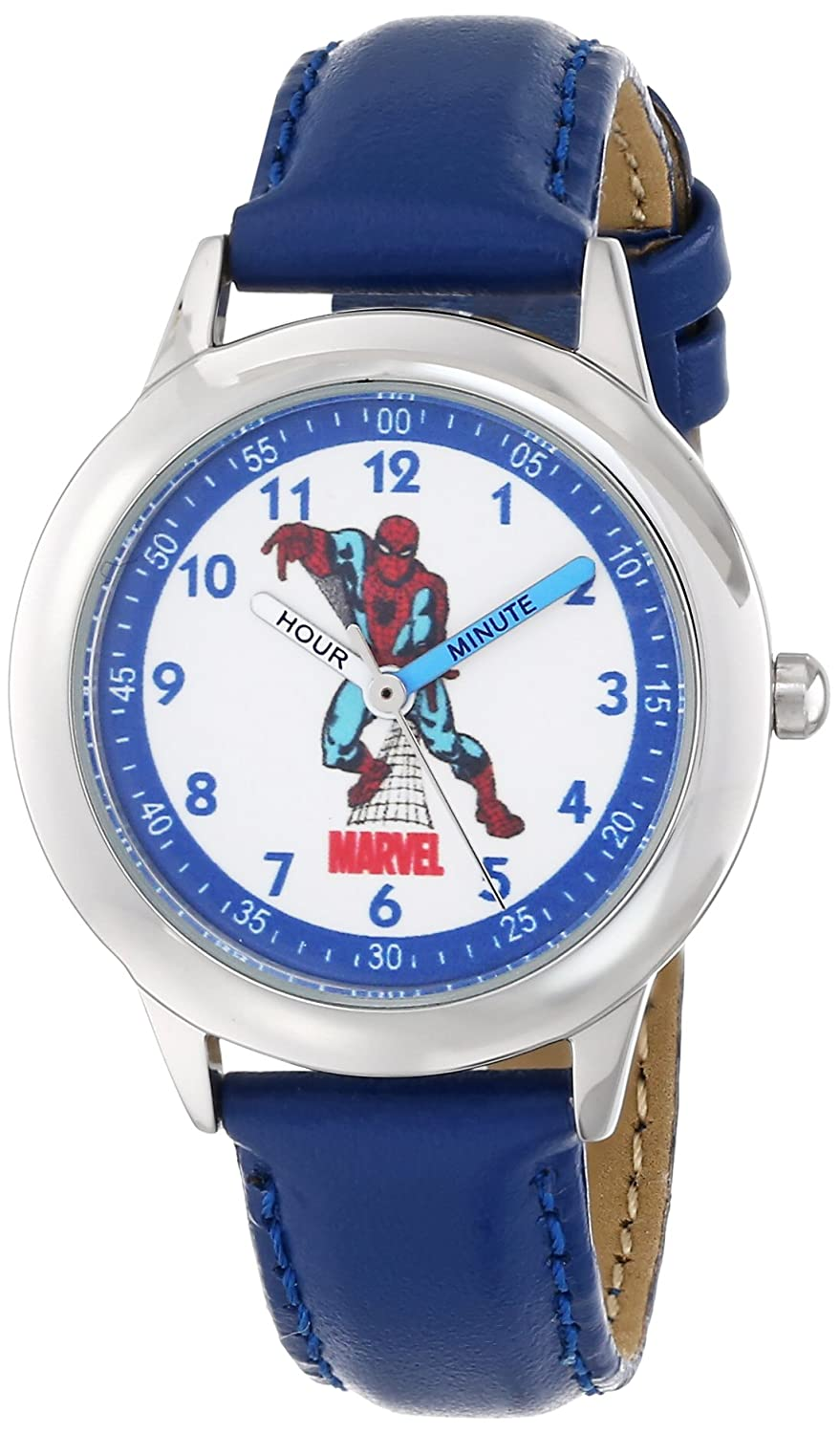 dd9c885a9 Marvel By Ewatchfactory Kids Spider-Man Quartz Watch with White Dial Time  Teacher Display and Blue Leather Strap W000116  Amazon.co.uk  Watches